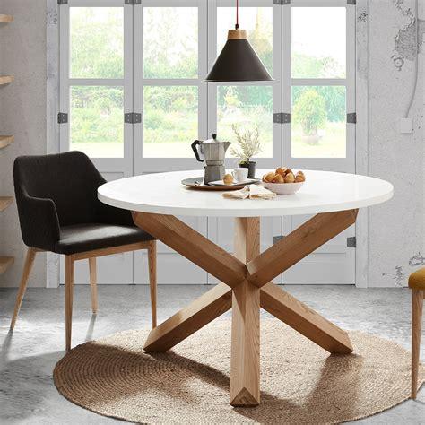 Nori Round Dining Table In White And Oak  Casa Lujo