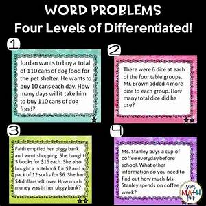 Multi-step Word Problem Task Cards 4th Grade
