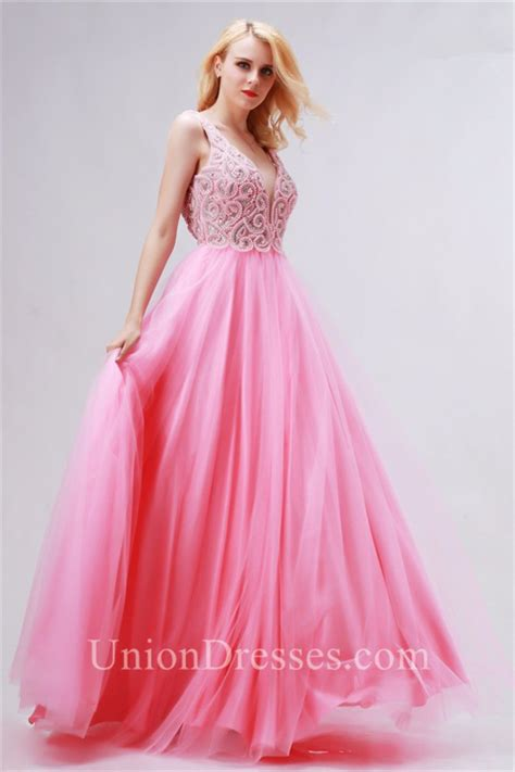 A Line Deep V Neck Open Back Pink Tulle Beaded Prom Dress