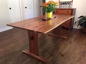 Reclaimed Walnut Trestle Table with Extensions - Reclaimed