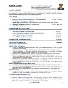 cfa level 1 resume hardik doshi cv