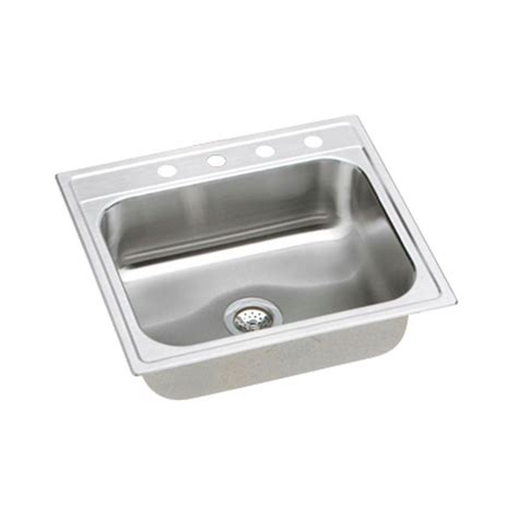 top mount single bowl kitchen sink elkay signature top mount stainless steel 25 in 4 9486