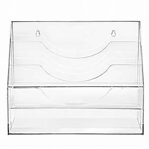 clear acrylic 3 compartment wall mounted document file With clear plastic wall mounted document holder
