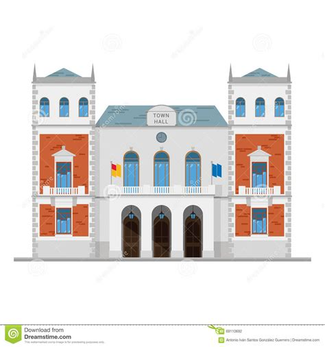 Cute Cartoon Vector Illustration Of A Town Hall Stock