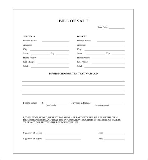 20833 blank bill of form 10 sle blank bill of forms sle forms