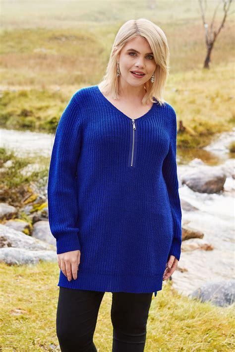 Kobaltowy Sweter Z Zamkiem, Duże Rozmiary 4464,yours Clothing