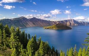 Crater, Lake, In, Oregon, Usa, Summer, Photo, Landscape, Hd