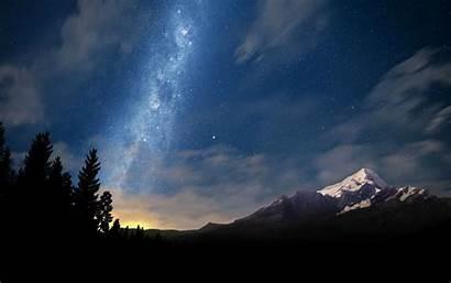 Galaxy Space Mountain Night Starry Landscape Milky