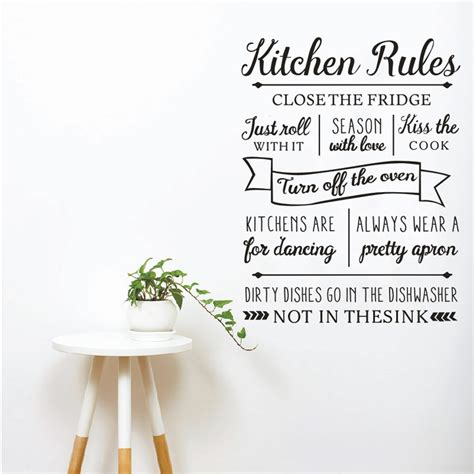 New Kitchen Rules Wall Sticker Letters Vinyl Wall Decals. Kitchen Reno Colors. Yellow Kitchen Lights. Kitchen Nook Target. Kitchen Stain Colors