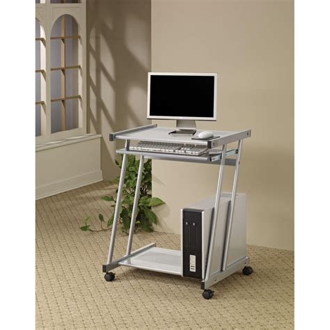 computer desk with casters desks contemporary computer desk with keyboard tray and