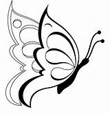 Butterfly Coloring Pages Printable Butterflies Simple Drawings Colouring Drawing Line Flower Flowers Clipart Sheet Outline Rose Crafts Pencil sketch template