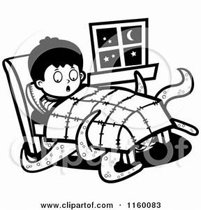 Cartoon Clipart Of A Black And White Happy Boy in Bed ...
