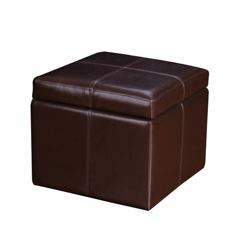 square leather pouf ottoman adeco brown bonded leather contrast stitch square cube