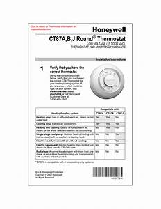 Honeywell Ct87a B J Round Themostat Low Voltage  15 To 30