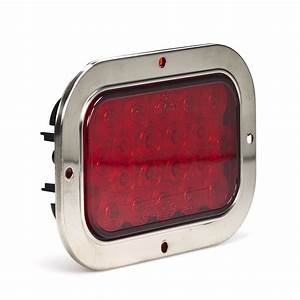 Rectangle Led Truck And Trailer Lights W   Built-in Stainless Steel Flange  Turn