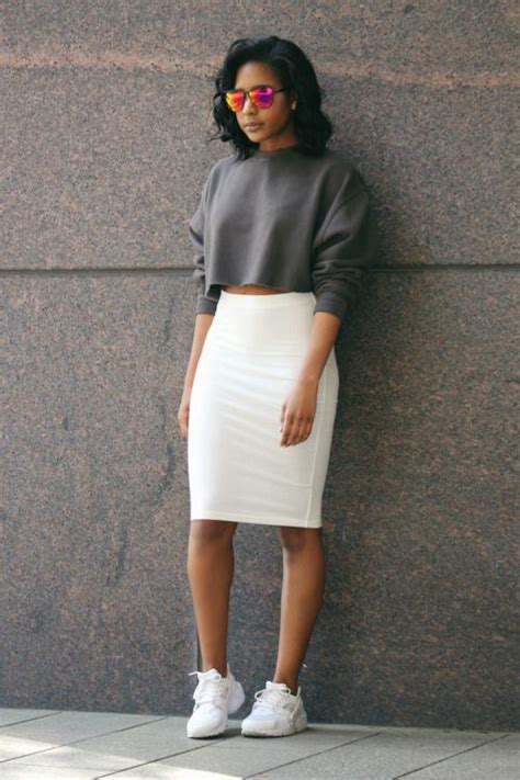 Cute Pencil Skirt Outfits with Sneakers