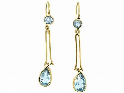 Aquamarine Earrings Gold Drop Edwardian 15ct Antique