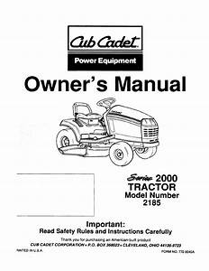 Cub Cadet Lawn Mower 2185 User Guide
