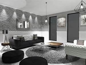 Grey, Black, And, White, Living, Room, U2013, Modern, House