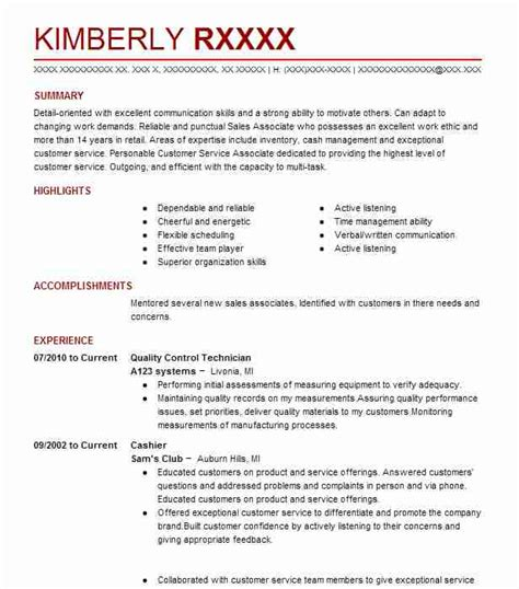 Quality Technician Resume Sle by Quality Technician Resume Sle Livecareer