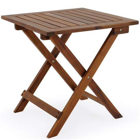 snack folding table acacia wood small bistro coffee side square furniture ebay