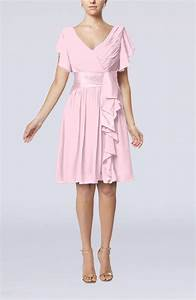 blush guest dress romantic short sleeve zip up knee With blush wedding guest dress