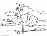 Coloring Island Landscape Printable Adults sketch template
