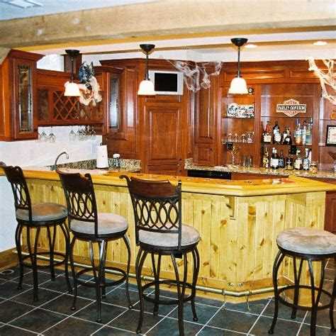 Wet Bar With Rustic Wainscoting Basement Finishing
