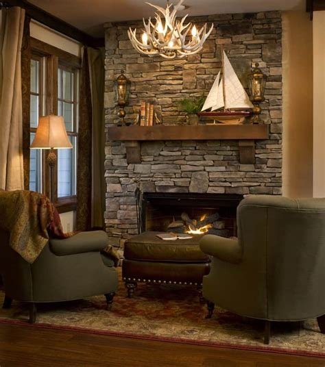 rustic country cabins   stone fireplace   romantic