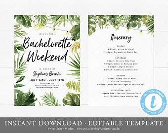 party itinerary etsy