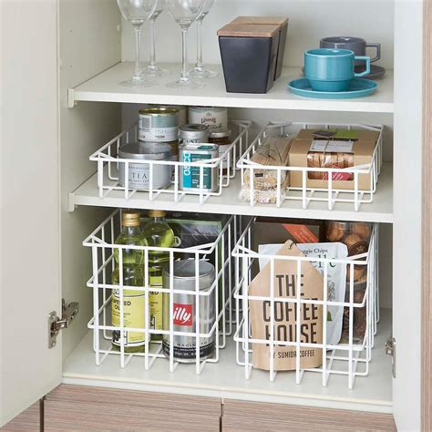 Yamazaki White Tower Steel Wire Stackable Baskets  The