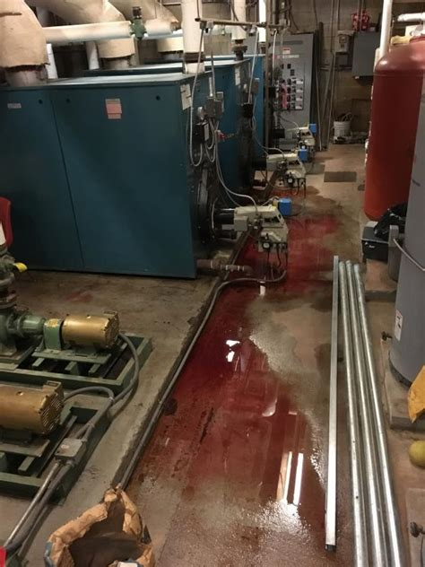 ge maker leaking water floor furnace leak spreads 50 gallons of onto camden