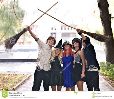 people group  broom halloween witch costume royalty