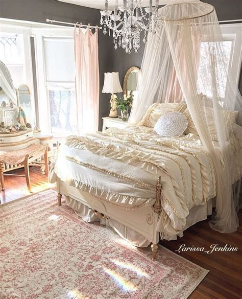 french inspired romantic bedroom  charcoal gray walls