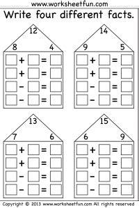fact family houses  worksheets fact family worksheet