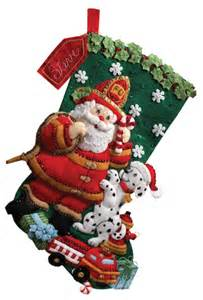 fireman santa bucilla christmas stocking kit