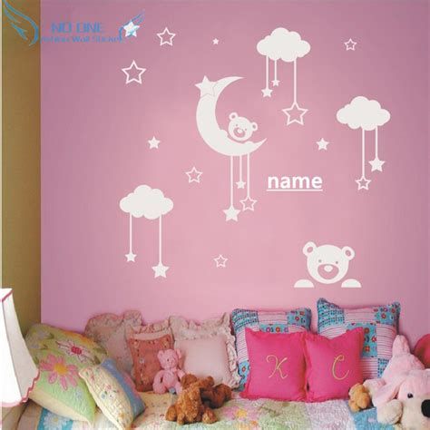 stickers chambre fille feerique personalized name teddy moon wall