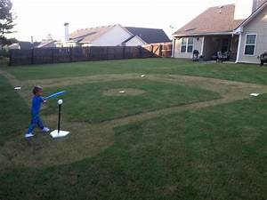 Backyard baseball field! Daddy made this for Logan's sports themed birthday party