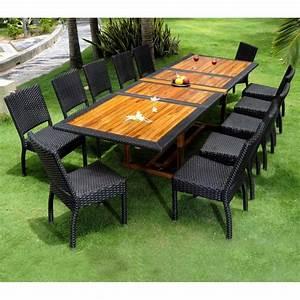 Table En Teck Jardin : salon de jardin teck et resine tressee ensemble pour 12 ~ Melissatoandfro.com Idées de Décoration
