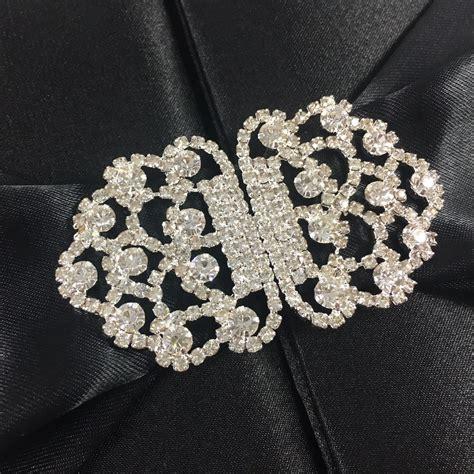 Black 7*7*1 Inches Silk Box With Rhinestone Embellishment