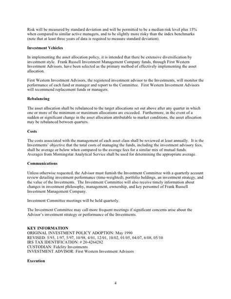 investment policy statement investment policy statement