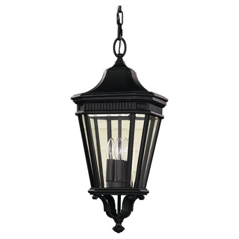 Hanging Porch Light Fixtures by Feiss Cotswold 3 Light Black Outdoor Hanging Pendant