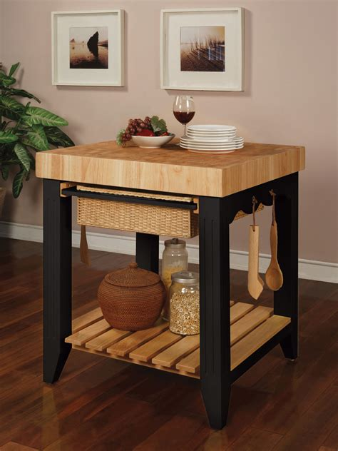 powell color story black butcher block kitchen island 502 416 - Kitchen Islands Butcher Block