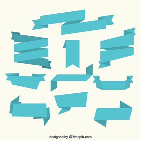 Ribbon Flat collection of flat blue ribbon vector premium