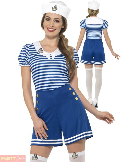 Ladies Sailor Costume Adults Nautical Navy Fancy Dress