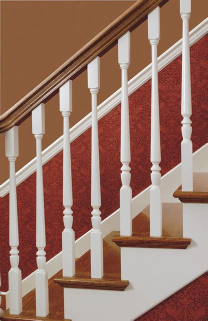wood balusters traditional staircase chicago