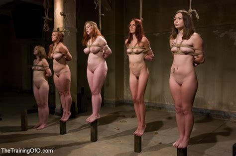 Group bdsm slavegirls are bound in line by masters - Pichunter