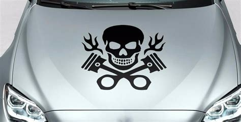 Skull And Crossed Pistons With Flames Hood Body Logo Vinyl