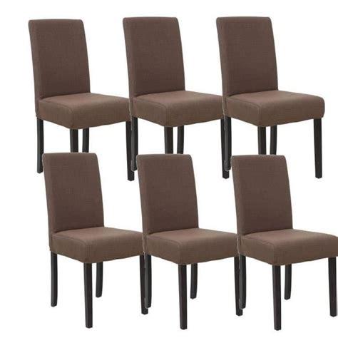 lot de 6 chaises de salle 224 manger d 233 houssables marron achat vente chaise cdiscount