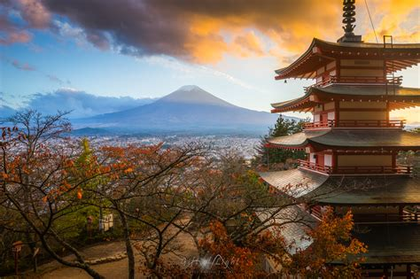 wallpaper japan temple landscape fall dark sunset